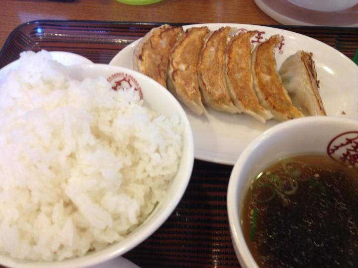大阪王将燕三条の餃子とライス(スープ付き)