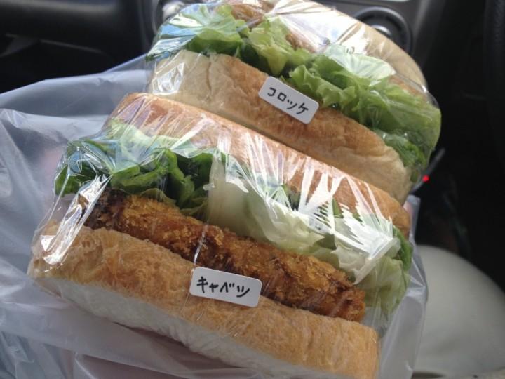 ころっこのサンドイッチ(コロッケサンドとキャベツサンド)