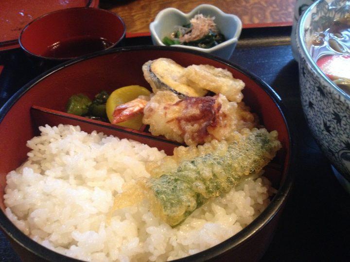 ご飯と天ぷらのアップ