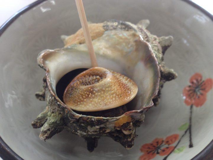 尖閣湾揚島遊園食堂で食べたサザエの壺焼き