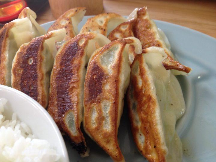 餃子定食W・餃子の皿アップ