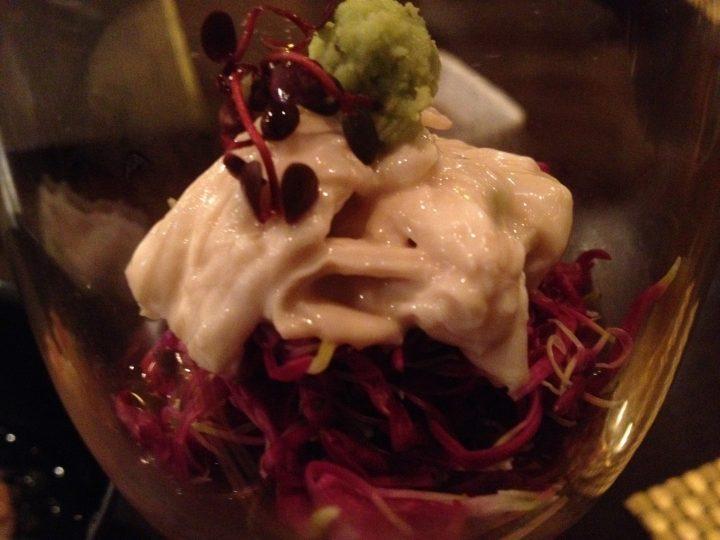 菊の前菜・グラスの中のアップ