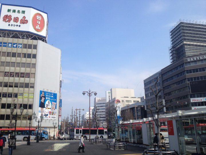新潟駅前・万代口から見た風景(2017年3月)
