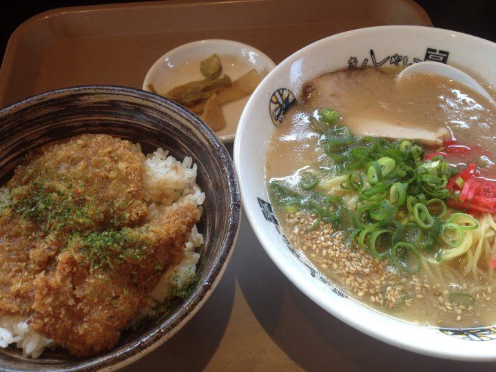 きんしゃい亭県央店のB定食(タレカツ丼、ラーメン、メンマとザーサイ)
