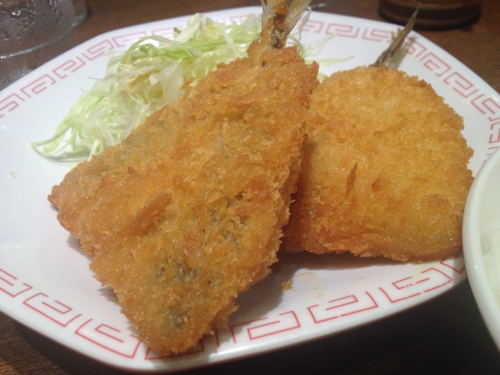 来来亭三条店のアジフライ定食・アジフライのアップ