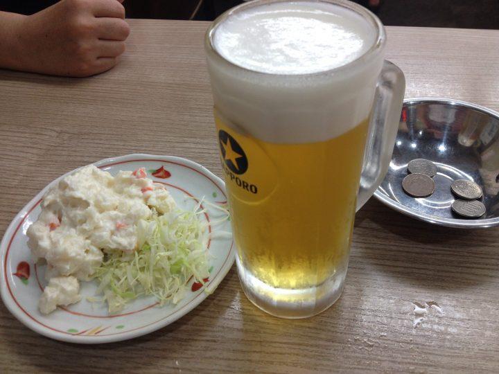 待夢の生ビールとポテトサラダ