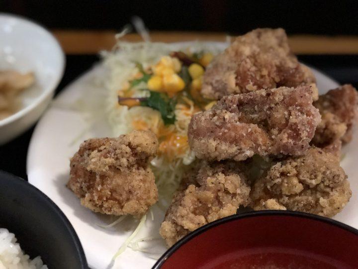 うめこまちの鶏塩竜田揚定食・竜田揚のアップ