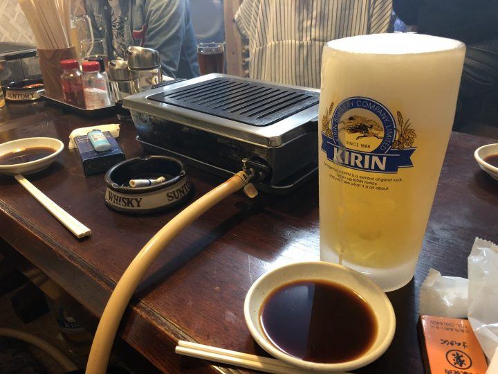 さんきらくの生ビール(大)