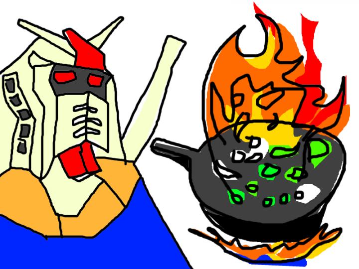 中華鍋で野菜を炒めるガンダムの図