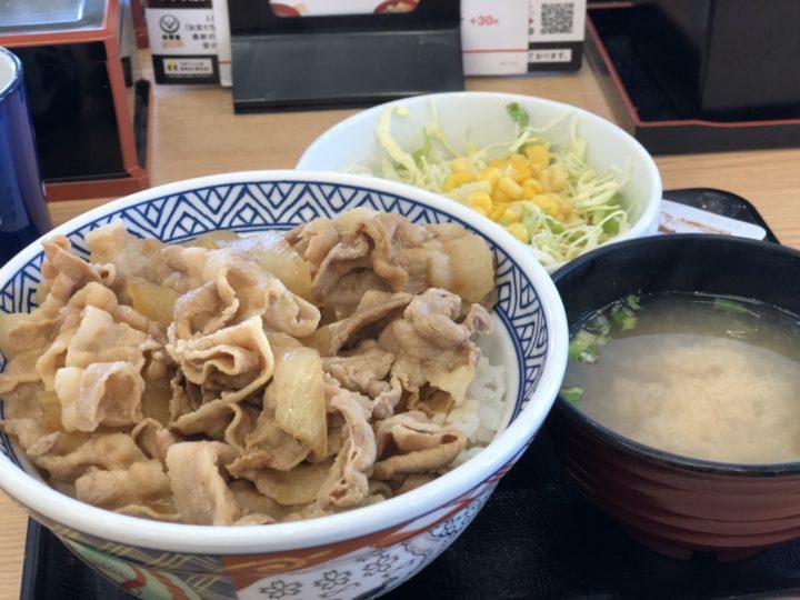 吉野家の豚丼・生野菜みそ汁セット(2018年2月)