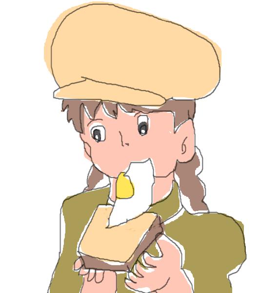 ラピュタパンを食べるシータ(自筆)