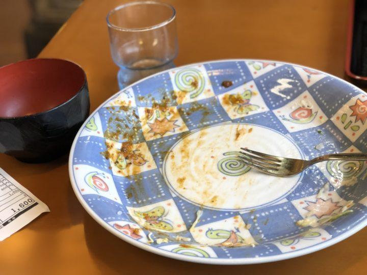 金子屋大島店の洋風カツ丼・完食後