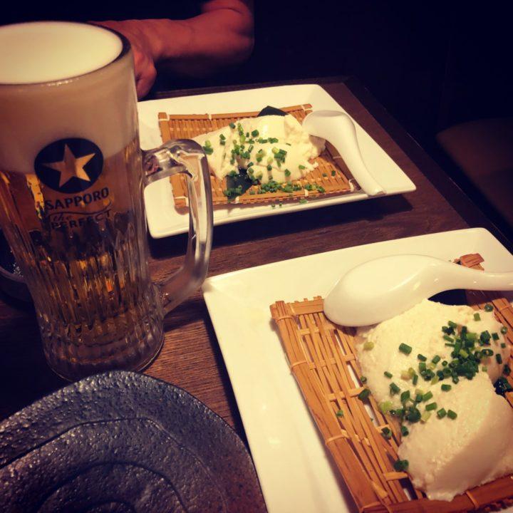 かよひ路日比谷店の生ビールと自家製豆腐