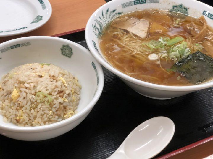 日高屋中野店の中華そば+半チャーハンセット
